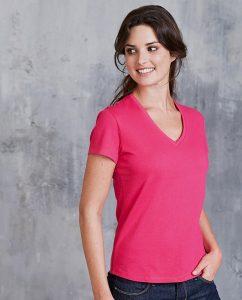 Damen T-Shirt V-Ausschnitt shortsleve